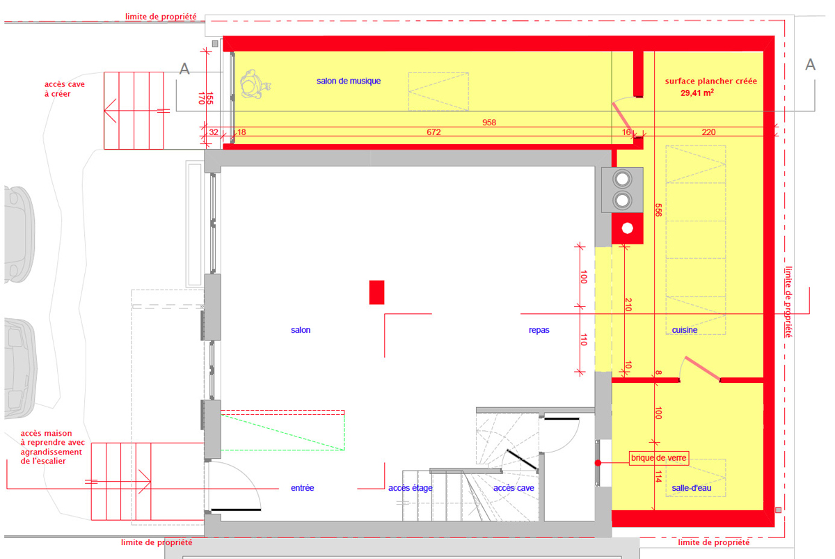 Plan extension maison free plan maison with plan for Maison sur plan prix